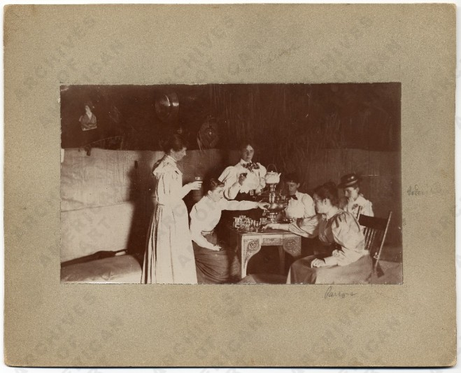 historical image of women artists and tea