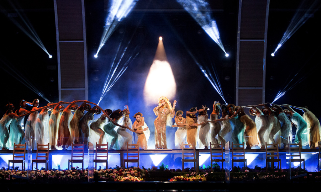 Beyoncé's performance at the 2017 Grammy Award Ceremony. Via beyonce.com, click image for source.
